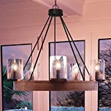Luxury Rustic Chandelier, Medium Size: 24.5''H x 27.5''W, with Vintage Style Elements, Grey Ash Wood Design, Natural Black Finish and Seeded Glass, UQL2450 by Urban Ambiance