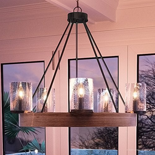 Luxury Rustic Chandelier, Medium Size: 24.5''H x 27.5''W, with Vintage Style Elements, Grey Ash Wood Design, Natural Black Finish and Seeded Glass, UQL2450 by Urban Ambiance by Urban Ambiance
