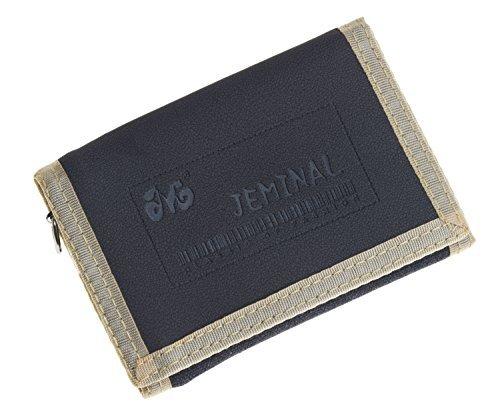 Black Rolfs Wallet - QISHI YUHUA JML Men's Sports And Leisure 3 Fold Short Purse Black Canvas Wallets