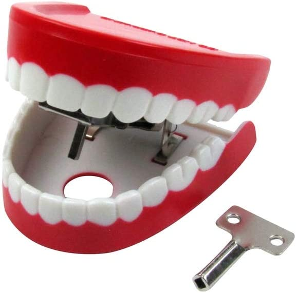 Treasure Gurus Novelty Wind Up Moving Red Talking Teeth Practical Joke Office Prank Toy Gag Gift