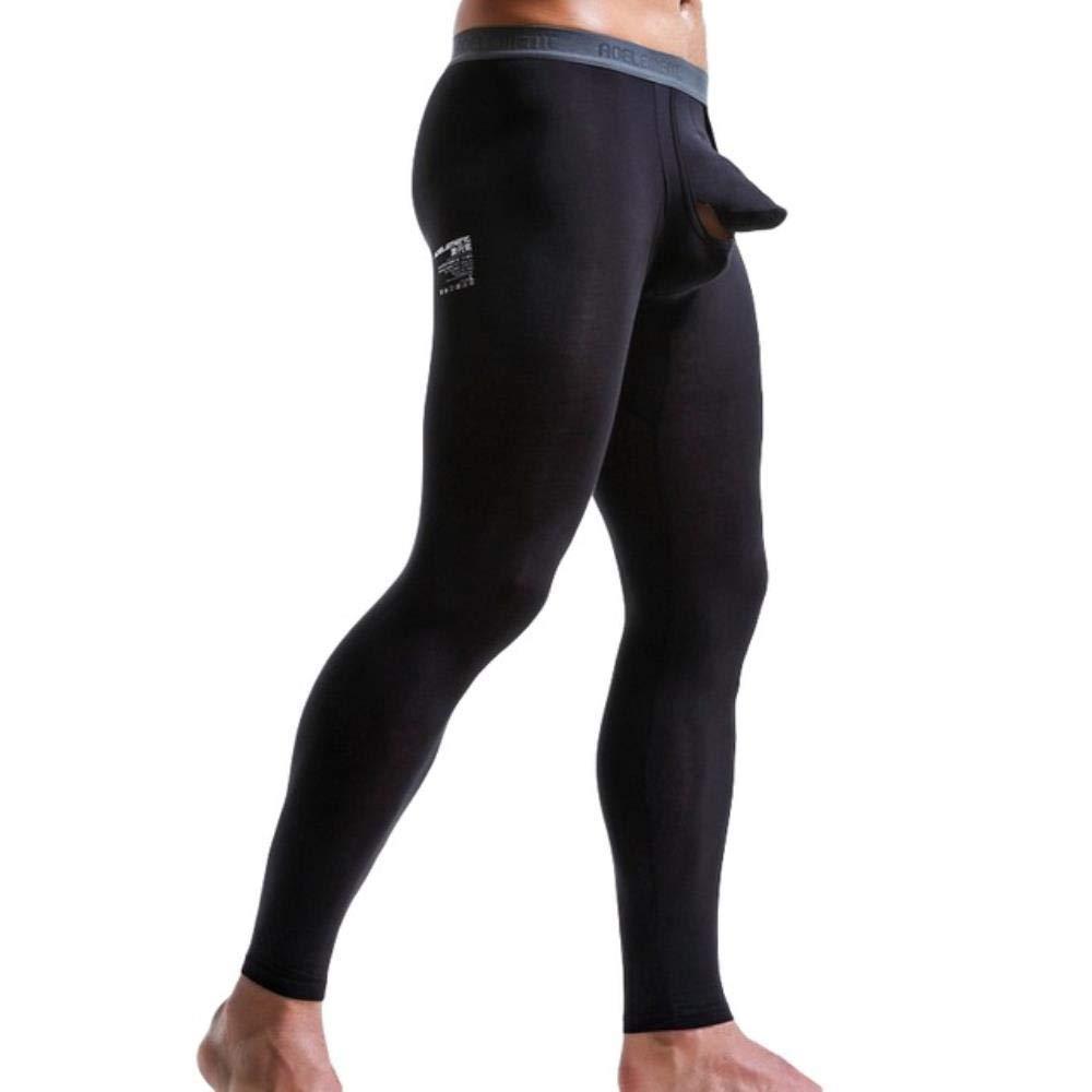 Li KererMen Thermo-Unterw/äsche M/ännliche Unterhosen Leggings Hosen Streifendruck Offene Strumpfhose Kompressions-Trainingshose Solide