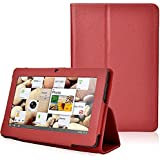"ikasus Folio Stand Faux Leather Case Flip Protection Guard Case for Zeepad,Chromo,Alldaymall,Matricom,Tagital 7"" Android Tablet Q88,Alldaymall A88X 7"",NeuTab N7 Pro,Chromo Inc® 7"",Chromo Inc® 7"" (Red)"