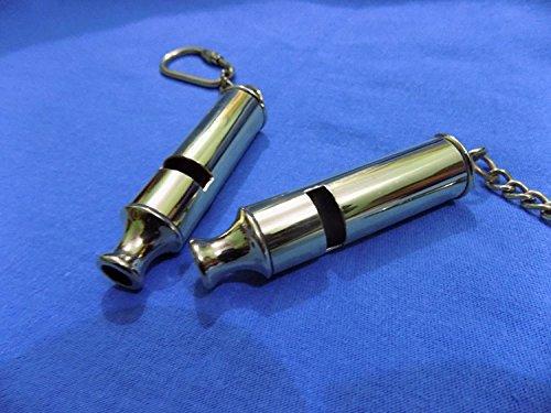 Humaira Nauticals Ares India London England Police Bobby Barrel Whistle Scotland Yard Cop Key Ring - Set of 2 D ()
