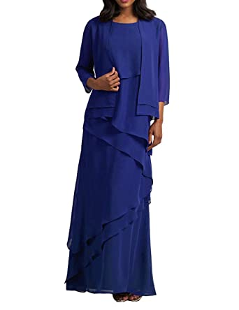 Mother of The Bride Dresses with Jacket Chiffon Prom Dress Plus Size Formal  Evening Gowns Tiered Royal Blue US 22W