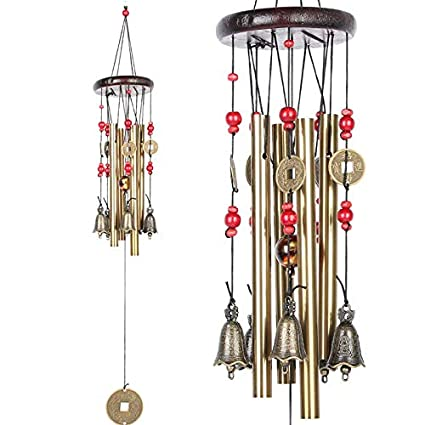 LQZ Chinese Traditional Amazing 4 Tubes 5 Bells Bronze Yard Garden Outdoor Living Wind Chimes