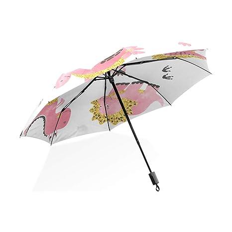ISAOA Paraguas de Viaje automático Compacto Plegable Paraguas Lindo Dinosaurios Cortavientos Ultraligero con protección UV Paraguas