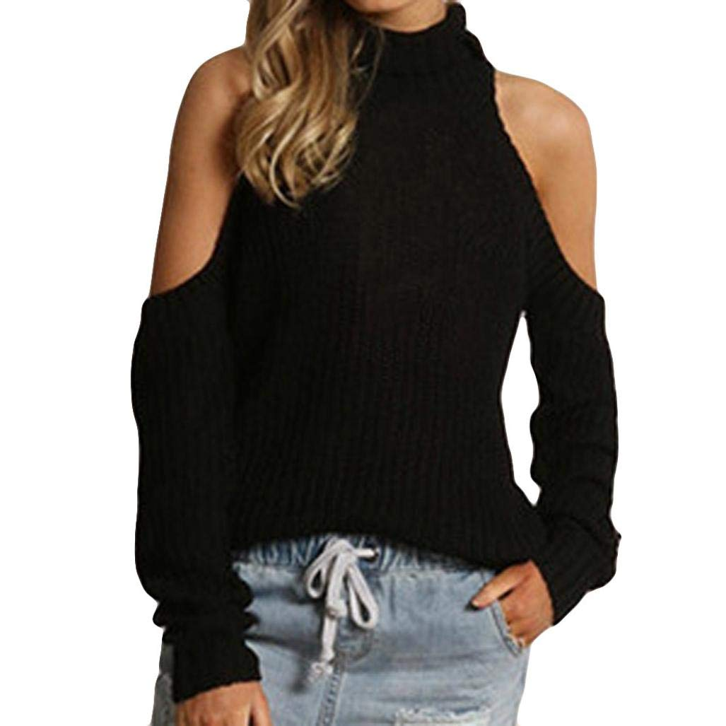 Balakie Womens Solid Knitted Turtleneck Blouse Strapless T-Shirt Casual Sweater (L, Black)