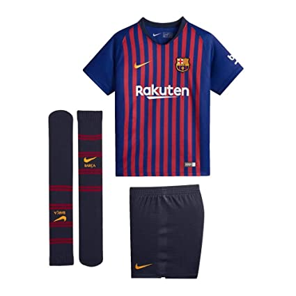 d5056153ef4 Amazon.com : NIKE 2018-2019 Barcelona Home Little Boys Mini Kit : Sports &  Outdoors
