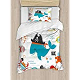 Kids Duvet Cover Set Twin Size, Ahoy Pirate Whale Turtle Pipe Hook Crab Octopus Captain Seastar and Swordfish Art, Decorative 2 Piece Bedding Set with 1 Pillow Sham, Multicolor