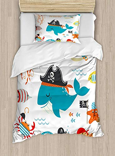 (VANKINE Kids Duvet Cover Set,Ahoy Pirate Whale Turtle Pipe Hook Crab Octopus Captain Starfish Swordfish Nautical Underwater Print,Decorative 3 Piece Fashion Bedding Set with 2 Pillow Shams)