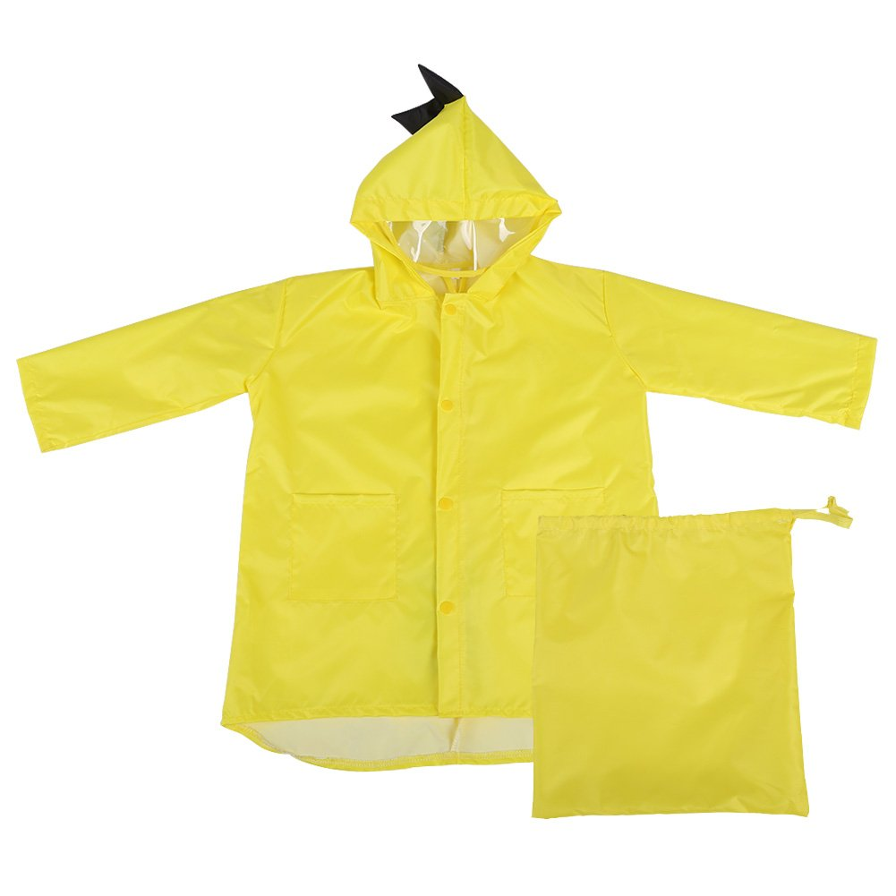 Raincoat for Kids Rain Jacket PVC Raincoat Dinosaur Shaped Lightweight Rainwear for Boy Girls (Red L) Fdit