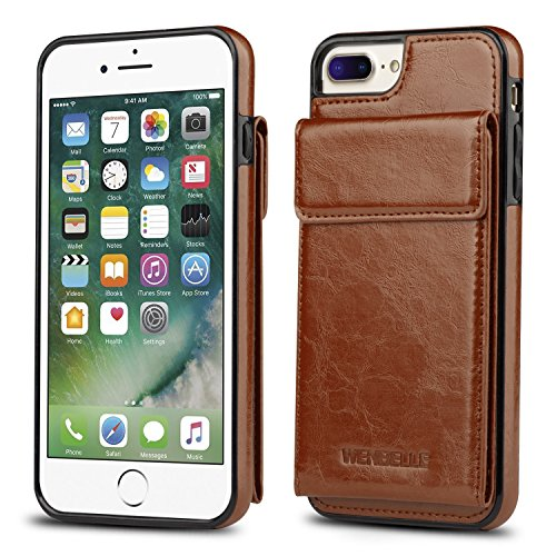 Jeweled Glove - for iPhone 7 Plus Wallet Case, iPhone 8 Plus Card Holder Case, WenBelle Shockproof Leather Wallet Case with Credit Card Slot Holder for Apple iPhone 7 Plus/iPhone 8 Plus (Brown)