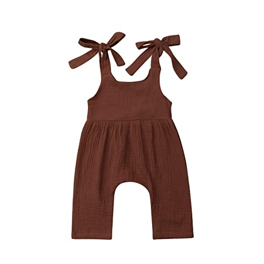 aa45d0a05c5d Infant Toddler Baby Girls Boys Sleeveless Strap Romper Jumpsuit Overalls  Pants Outfits Summer Brown 0