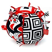 Genius Baby Toys Ribbon Tag Ball for Baby - Black, White & Red