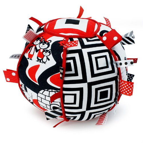 Ribbon Tag Ball for Baby - Black, White & Red ()