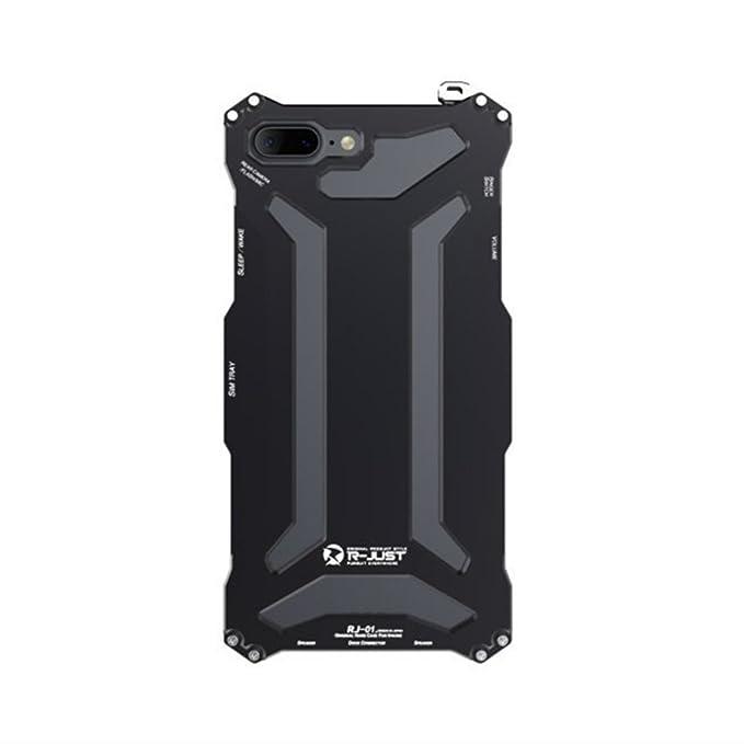 new product 06e07 4446b iPhone 7 Plus Case,iPhone 8 Plus Case,R-JUST Aluminum Metal Protection  Mechanical Armor Cover Case for Apple iPhone 7 8 Plus (Black)