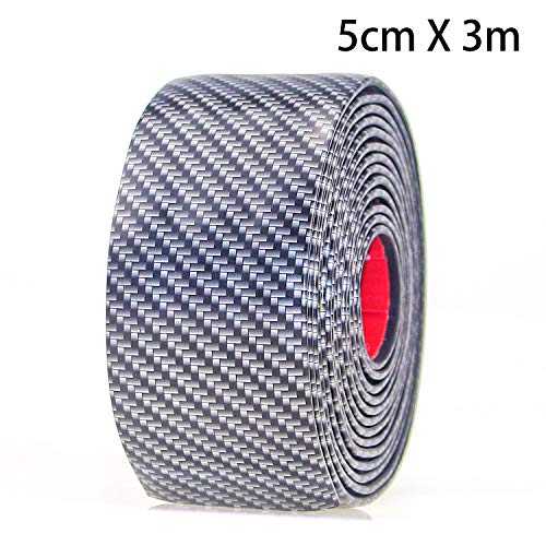 ntry Sill Guard Scuff Plate Protectors -Carbon Fiber Rubber Front Rear Guard Bumper Seal Strip, Pedal Protect, Anti-Kick Scratch for Cars Doors (width5CM Long 3M) ()