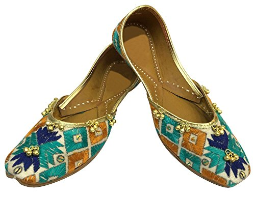Step n Style Women Handcrafted Indian Ethnic Flat Shoes Mojari Salwar Kameez Jutti RltUz