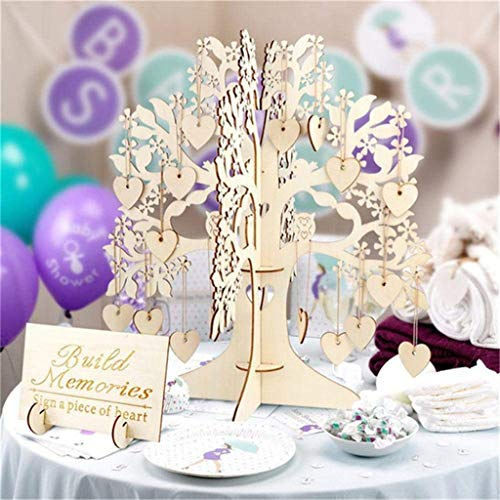 OutTop(TM) Wedding Guest Visit Sign Book Tree 3D Wooden Sign Book Rustic Hearts Pendant Drop Ornament for Wedding Party Decor (Khaki)