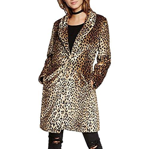 Leopard Trench (Comeon Women Warm Long Sleeve Parka Faux Fur Coat Overcoat Fluffy Top Jacket Leopard (US XL/Asian 2XL))