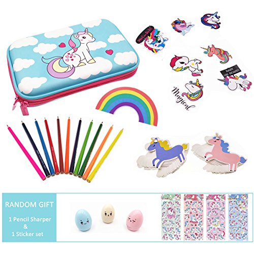 Cute Unicorn School Supplies for Girls, Unicorn Stationery Pencil Case, Pencils, Stickers and Rainbow Eraser, Christmas Gift for Girls