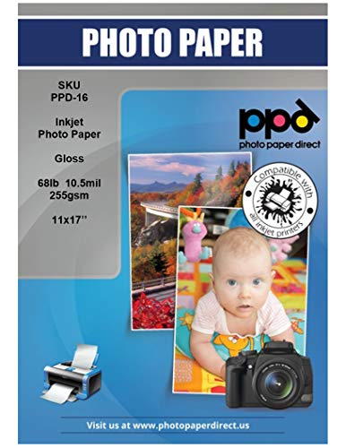 PPD Inkjet Glossy Super Premium Photo Paper 11 x 17'' 68lbs. 255gsm 10.5mil x 50 Sheets (PPD016-50)