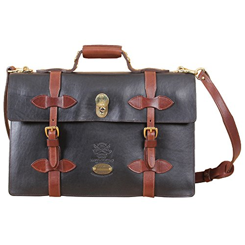 Leather Navigator Briefcase Laptop Expandable Black Bag Messenger USA No. 1943 Grain Leather Expandable Computer Briefcase