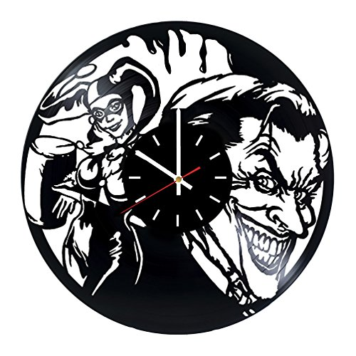choma Joker and Harley Quiin Vinyl Record Wall Clock - Living Room Wall Decor - Gift Ideas for Boys and Girls, Friends – Comics Unique Art Design ()