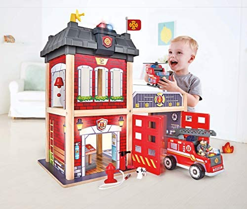 Hape International- Caserma dei Pompieri, Multicolore, E3023