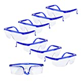Yarssir Adjustable Safety Glasses - Kids & Adult Protective Safety Glasses Eye Protection for Play,Costume,Construction, DIY and Home Projects,Clear Anti-Fog Lens with Blue Frame(8 Pack)
