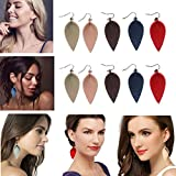 CoolCos 5 Pairs Leather Leaf Earrings Teardrop for Women, Lightweight Dangle Drop Petal Leather Diffuser Earrings, Red/Navy Blue/Khaki Tan/Coffee Brown/Light Pink 5 Colors