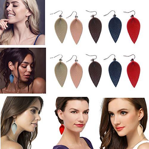 CoolCos 5 Pairs Leather Leaf Earrings Teardrop for Women, Lightweight Dangle Drop Petal Leather Diffuser Earrings, Red/Navy Blue/Khaki Tan/Coffee Brown/Light Pink 5 Colors