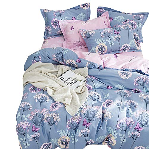 BuLuTu 3 Pieces Girls Duvet Cover Set Twin Kids Blue/Purple/Pink Cotton,Dandelion Butterfly Print Reversible Bedding Sets Twin Comforter Cover 2 Pillow Shams Zipper,Super SoftNO Comforter