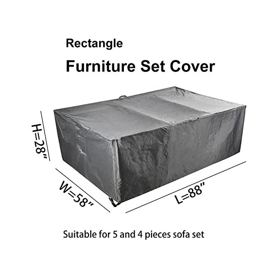 """Patio Furniture Set Covers Waterproof Outdoor Table Covers Sectional Conversation Loveseat Sofa Set Covers Waterproof Durable Heavy Duty  88"""" L x 58"""" W x 28"""" H - SIZE: 88"""" L x 58"""" W x 28"""" H.Universal design to fits patio 4pcs rattan wicker sofa set and rectangular table and chairs sets. WATER and UV RESISTANT: Heavy-duty polyester fabric with waterproof PVC coating, protect your furniture from rain, snow and other precipitation. DURABLE: made from durable oxford fabric, heavy duty, long time to use. - patio-furniture, patio, conversation-sets - 519TC7H4MHL. SS570  -"""