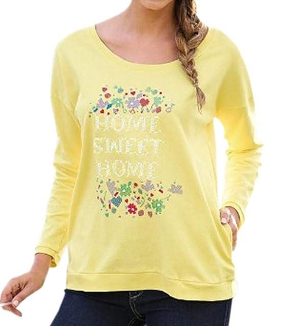 Freestyle Primavera y Otoño Mujeres Blusa Joven Casual Cuello Redondo Camisetas de Manga Larga Tees Tops Sudaderas Moda Impresión T-Shirt Camisas Jumpers ...