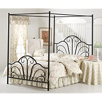montana textured black queen bed set with canopy and legs without rails