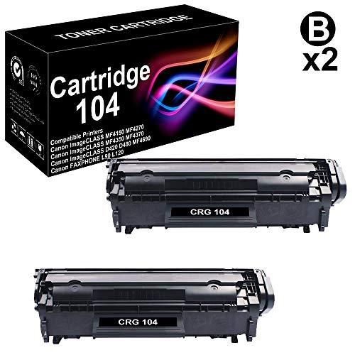 104 Laser Cartridge - Compatible 2-Pack ImageCLASS D420 Laser Printer Toner Cartridge Replacement for Canon 104 CRG-104 Printer Toner Cartridge (Black),Sold by BUADCK
