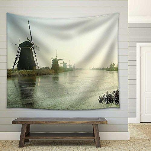 Traditional Dutch Windmills at Dawn in Kinderdijk Netherlands Fabric Wall Tapestry