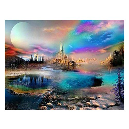 VKTECH Colorful Scenery Full Drill 5D DIY Diamond Painting Kit Round Rhinestone Embroidery Cross Stitch Craft Best Gift Room Decor 16x12 inch
