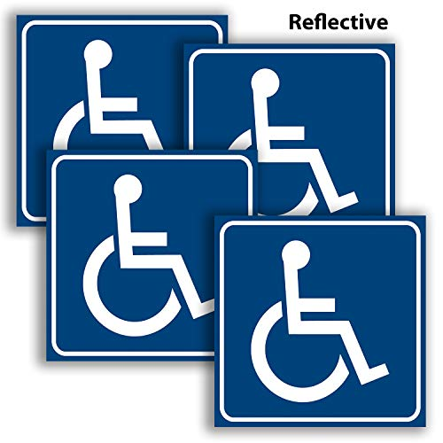 Handicap Signs Stickers Decal Symbol – 4 Pack Reflective Silver 6x6 Inch – Premium Self-Adhesive Vinyl, Decal, Laminated for Ultimate UV, Weather, Scratch, Water and Fade Resistance, Indoor & Outdoor