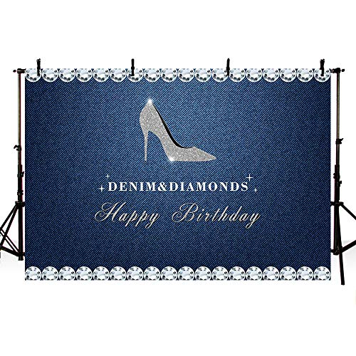 MEHOFOTO Denim and Diamonds High Heels Woman Happy Birthday Photo Studio Backgrounds Party Banner Backdrops for Photography 8x6ft