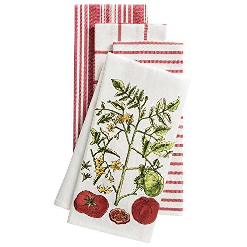 KAF Home Pantry Cuisine Tomato Vine Dishtowel Set of 4 Cotton Mixed Tea Towels, Oversize 18 x 28 (Windowpane Check Towel)