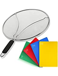 Set of Splatter Screen for Frying Pan & 4 Flexible Plastic Cutting Boards — Oil Grease Splash Guard Lid for Non-Stick Cast Iron Skillet — Large Vegetable Cutting Mat for Cooking — Kitchen Set