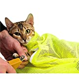 Cestlafit Pet Cat Grooming Washing Bath Bag - Scratching Biting Restraint Polyester Mesh Bag For Shower - Cleaning Ear - Cutting Nails - Medicine Feeding - Yellow