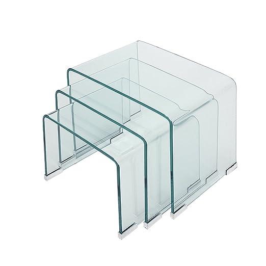 Panana-K - Juego de mesas Nido de Cristal para Mesa Auxiliar, Mesa ...