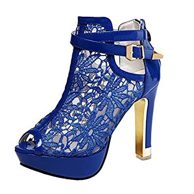 Getmorebeauty Women's Platform Pumps With Pretty Lace Flowers Open Toes High Heels Ankle Boots (AU10, Blue)