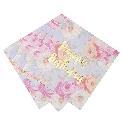 Talking Tables Truly Scrumptious 13 Gold Foil Happy Birthday Floral Paper Napkins for a Birthday Party, Multicolor/Gold (32 Pack)