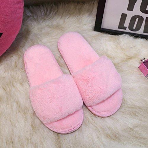 Elevin (tm) Donne Di Moda Casa Scivolare Su Cursori Lanuginoso Pelliccia Finta Pantofole Indoor Outdoor Infradito Scarpe Rosa
