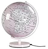 "Wild Wood Illuminated Geographic World 12"" Desk Globe with Stand, LED Lighting, and USB Plug, Pearl Pink (AWWL077)"
