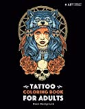 Tattoo Coloring Book: Black Background: Stress Relieving Adult Coloring Book for Men & Women, Midnight Edition, Detailed Tattoo Designs of Skulls, ... Practice for Stress Relief & Relaxation